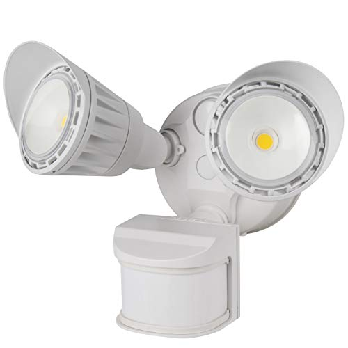 Sunlite 88918-SU LED Dual Head Outdoor Security Light with Motion Sensor and Photocell, White, Warm White, 1800 Lumen