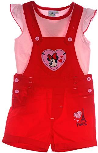 Minnie Mouse Anzug Baby Latzshorts und Shirt Set kurz 68 74 80 86 Disney rot (24M)