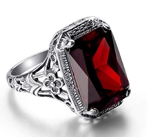 Wenbin Elegant Huge Natural 3.5Ct Tanzanite 925 Silver Ruby Ring Women Wedding Engagement Size 6-10 (Size 9)