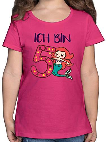Geburtstag Kind - Ich Bin 5 Meerjungfrau - 104 (3/4 Jahre) - Fuchsia - ich Bin 5 meerjungfrau Kinder Shirt - F131K - Mädchen Kinder T-Shirt