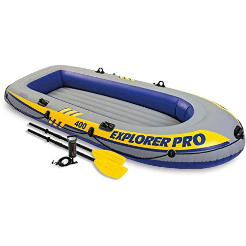 Intex 4 Person Explorer Pro 400 Boat Set.These Amazing Outdoor Relaxing Boats for Fishing on Lakes Guaranteed! Check Out This Intex Explorer Pro 400 Boat Set In Your Favorite Lake or Small River for Comfortable Ride.