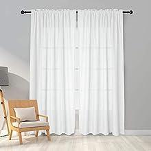 Melodieux Cortinas Visillos Blancas para Dormitorio Cortinas Translúcidas Salón 2 Piezas, 140x245cm