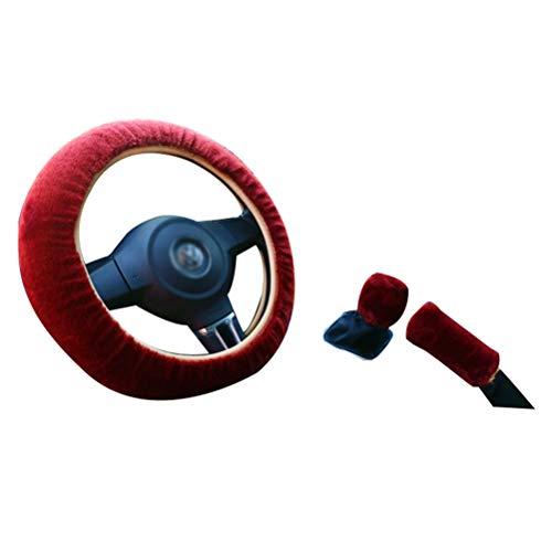 Jitong Universal Lenkradbezug Plüsch, 3 Stück Winter Auto Lenkradabdeckungen, Handbremse & Getriebe Abdeckung Set, Weinrot | 38cm