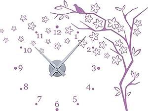 Graz Design 800355_SI_042 Wandtattoo Uhr mit Uhrwerk Wanduhr Baum Blume Zahlen Wohnzimmer (Uhr=Silber//Aufkleber=Flieder)