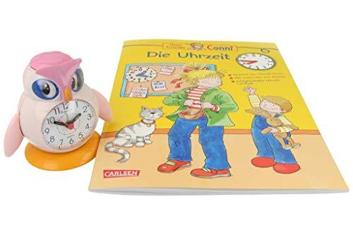 Eichmüller Kinderwecker Eule rosa Analogwecker mit Alarm Snooze und Licht mit Conni Buch Uhrzeit Lernen Die Uhrzeit