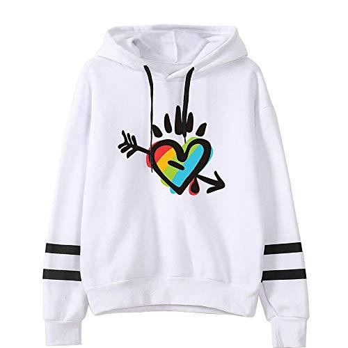 JLTPH Damen LGBT Gay Lesbian Pride Regenbogen Herz Drucke Kapuzenpullover Oversize Pullover Pulli Langarm Sweatshirt Kapuzenpulli Tops