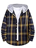 ROMWE Men's Long Sleeve Hoodie Jacket Plaid Button Down Flannel Shirts Multicolor AA XL
