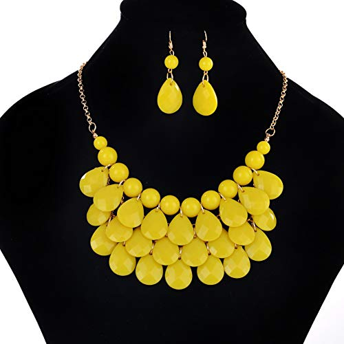 DSJTCH Korean Jewelry Beach Style European and American Water Drops Necklace Ear Ring Jewelry Set Fashion Popular (Color : Yellow)
