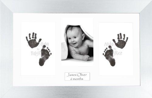 Anika-Baby BabyRice Cadre photo pour bébé Main et empreintes kit comprend Cadre argenté/passe-partout noir + avec passe-partout blanc