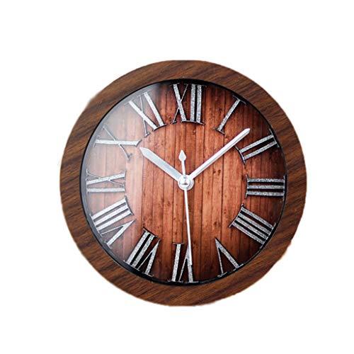 Retro wekker Student Desktop Silent Time Clock Creative Romeinse cijfers Woonkamer Slaapkamer Decoratie Clock Simple Quartz Clock Stil Ontwerp (Color : Brown, Size : 12cm*12cm)