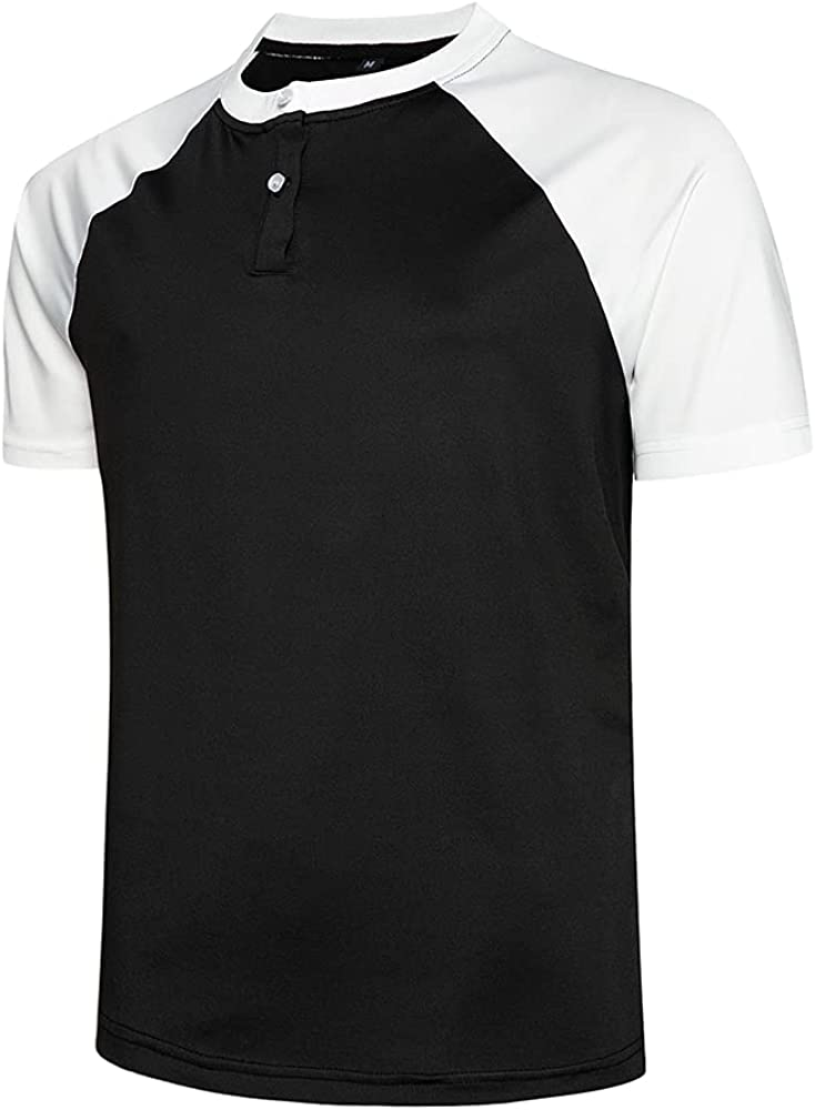 TOLOER Men's Fashion Casual Short Sleeve Henley Shirts Sports Active T-Shirts