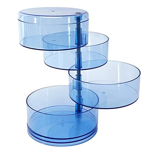 Cajas de joyería de 4 Capas Vitrina de joyería de Viaje Transparente Azul Estilo Simple y Moderno para almacenar Anillos Pendientes Collares Pulseras