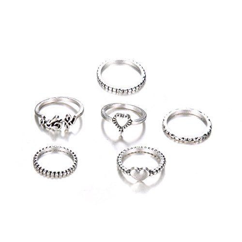 Yinew Vintage Strass Kristall oberhalb Knöchel Ringe Set Pfeil Mond Nagel Midi Ring (6 Stück Herz Hoffnung)