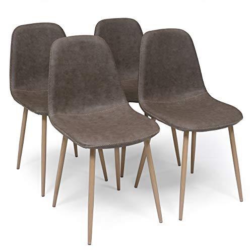 Homely - Pack de 4 sillas de Comedor Cairo Antique tapizadas en Polipiel y Patas de Metal símil Madera (MY-4 MARRÓN)