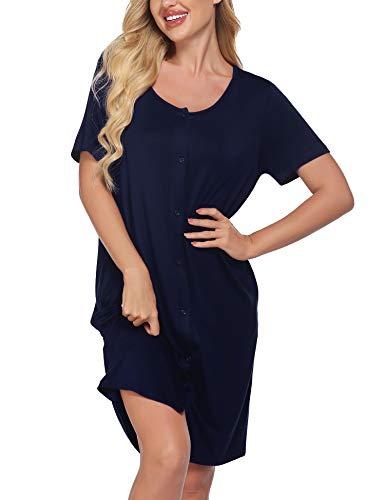 Meaneor Damen Stillnachthemd Kurzarm Geburtskleid Krankenhaus Umstandsnachthemd Stillkleid aus Baumwolle Nachthemd zum Knöpfen Geburtshemd Nachtwäsche für Schwangere und Stillzeit Navy Blau XL