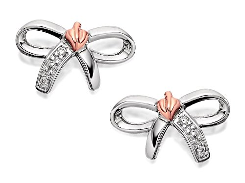 Clogau para mujer, plata y 9ct oro rosa árbol de vida Diamante Arco Pendientes