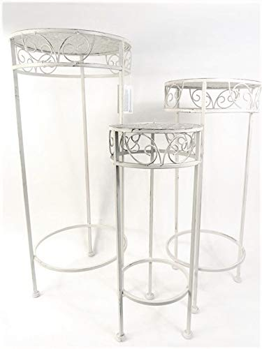 Table Tall White Metal Ornate Occasional Telephone Lamp Plant Table Choice of Size (Medium)