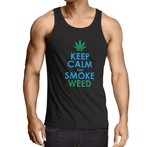 lepni.me Camisetas de Tirantes para Hombre Mantener la Calma y Humo - Hoja de Marihuana