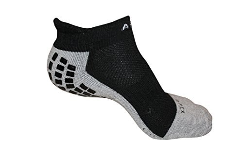 #1 Non Slip Yoga Sport Socks, The Best Traction Technology Inside and Outside of Socks, (Sport Ankle Black, Medium)