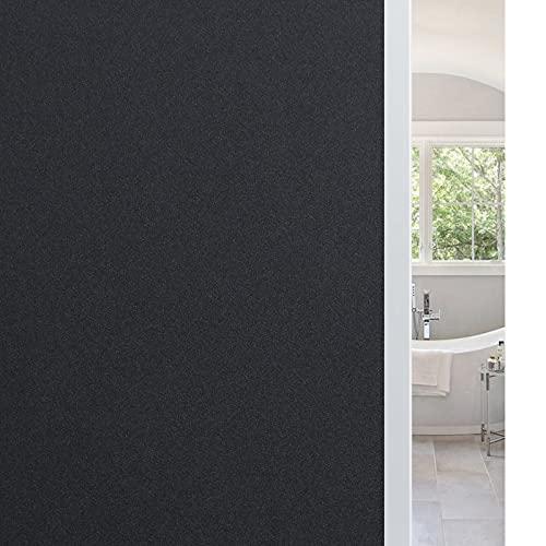 Haton Vinilo Negro para Ventana para Cristal Vinilo Adhesivo Bloquear 100% del Luz Película para Ventana Láminas Electrostaticas 90 x 200CM