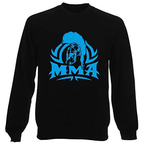 T-Shirtshock Sudadera por Hombre Negro T1253 MMA Spartan Crest