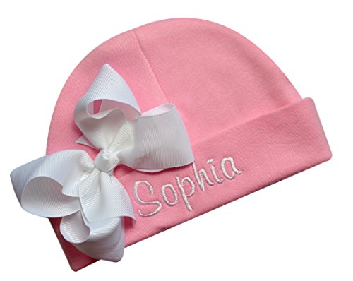 Personalized Embroidered Baby Girl Hat with Grosgrain Bow with Custom Name (Pink Hat/White Bow)