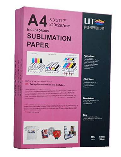 LIT Sublimation Paper 8.3 x 11.7 Inch, 100 Sheets,100gsm - Heat Transfer Paper For Any Epson Sawgrass HP Inkjet Printer With Sublimation Ink