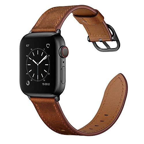 SENDORFF Berlin Bracelet en cuir pour Apple Watch Series 1/2/3/5/6/SE Applewatch5 Apple Watch6 Iwatch Bracelet de rechange 38 mm 40 mm (Series 4-6/SE), marron noyer