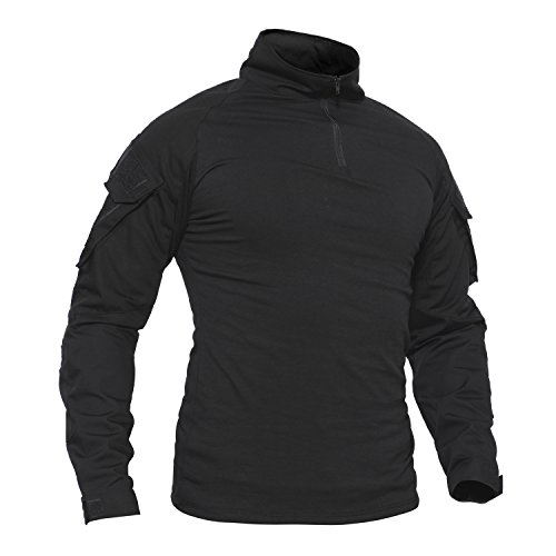 TACVASEN Herren Baumwoll Shirt Schwarz Langarm Hemd Militär Men's Long Sleeve T-Shirt Black Cotton Outdoor Tshirt Black Schwarz M