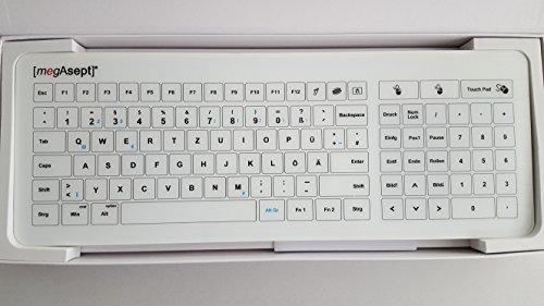 MegAsept® Touch Glastastatur, spritzwassergeschützte Hygienetastatur inkl. Numpad + Touchpad   Kabel (USB)   Hygienisches Keyboard   Tastaturlayout: QUERTZ/Deutsch