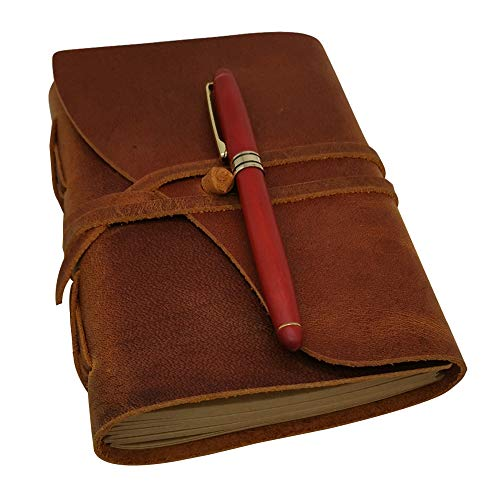 Lined Leather Journal Gift Set - Handmade Leather Bound Notebook for Men & Women Ruled Kraft Paper, 120 Sheets, 5x7 Inches, Antique Pen & Box, Brown