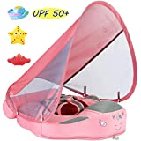 V Convey Size Improved Add Tail Never Flip Over 2020 Newest Mambobaby Non-Inflatable Float Swim Trainer Relaxing Infant Baby Pool Float with Canopy Solid Waist Swimming Ring Sunshade (pink C de)
