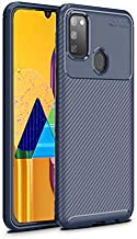 ValueActive Back Cover for Samsung M21 / M30S Case Mobiles Back Covers Carbon Fiber Shock Proof Rugged Armor with Metallic Brush Finish Back Cover Case for Samsung Galaxy M21 / M30S (Blue)