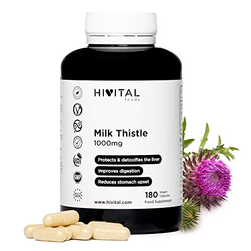 Cardo Mariano 1000 mg | 180 cápsulas veganas (Suministro para 6 meses) | Con un 80% de Silimarina y un 30% de Silibina, desintoxica y protege el hígado, mejora la digestión y reduce el dolor estomacal