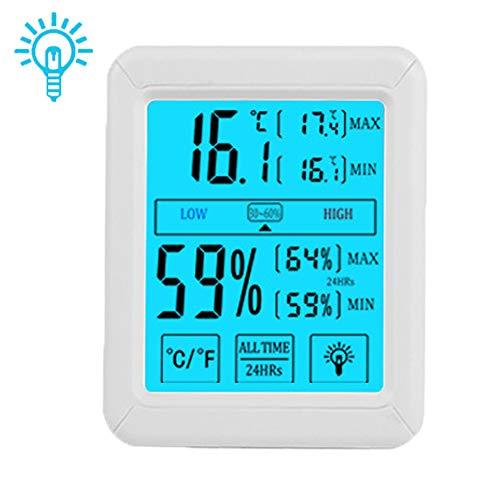 Hualans Termometro Igrometro Digitale Professionale con Touch-Button, Termometro Ambiente Termoigrometro Interno Retroilluminazione Monitor Temperatura/umidità da Interno (batterie escluse)