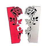 Mamunu - Fustelle a forma di rosa per decorazioni fai da te, album di ritagli, biglietti, stencil in metallo per creazione di biglietti Rosa