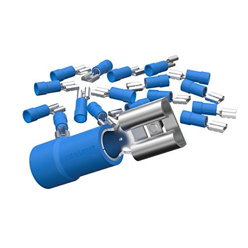 AUPROTEC 25x Flachsteckhülsen 1,5-2,5 mm² blau/Steckbreite 6,3 mm Teilisoliert PVC weiblicher Steckverbinder FDD Kabel-Verbinder aus Messing verzinnt