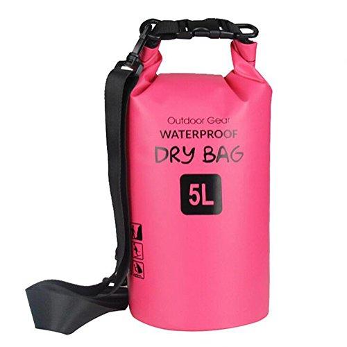 ZhaoCo Borsa Impermeabile, 5L/10L/20L/30L Dry Bag con Tracolla Regolabile Perfetto Per Kajak, Canoa, Vela, Pesca, Nuoto, Spiaggia, Barca, Campeggio, Attività all'Aperto e Sport d'Acqua (Fucsia,5L)
