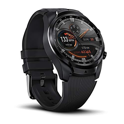 Ticwatch Pro 4G/LTE Version - mehrschichtiges Display für lange Akkulaufzeit, Wear OS von Google, NFC, 24-Stunden-Herzfrequenzüberwachung, GPS, Schlafverfolgung, Musik, IP68, Android und iOS