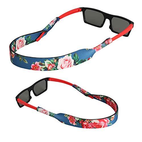 FTALGS FTALGS Neopren Eyewear Retainer, Kein Schwanz Sport Sonnenbrille Retainer, Sonnenbrille Gurt Sicherheit Brillen-Halter für Kinder Ideal zum Laufen, Reiten, Klettern, Tauchen [2 Pack] (Rot und Blau)