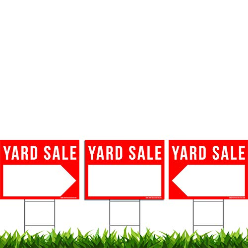 VIBE INK 3 Pack Yard Sale Signs Kit - Double Sided Signs & Metal H-Stakes - Red Property Signs 24