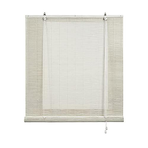 STORESDECO Estor de bambú, Estor Enrollable de bambú Natural, persiana de bambú para Interior. (120 cm x 175 cm, Blanco)