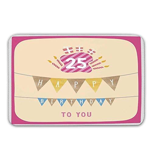 AoLismini 25. Geburtstag Dekorationen rutschfeste Gummi Eingang Teppich, rosa Rahmen niedliche Fahnen mit Buchstaben brennende Kerzenhalter Geschenke Fußmatte für die Haustür
