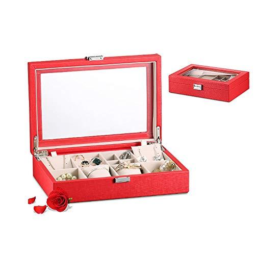 Preisvergleich Produktbild MU Haushalt Portable Storage Box Massivholz Schmuckschatulle / Single Layer Kopfschmuck Schmuck Display Box / Ohrringe Armband Farbe Optional täglichen Bedarfs, rot