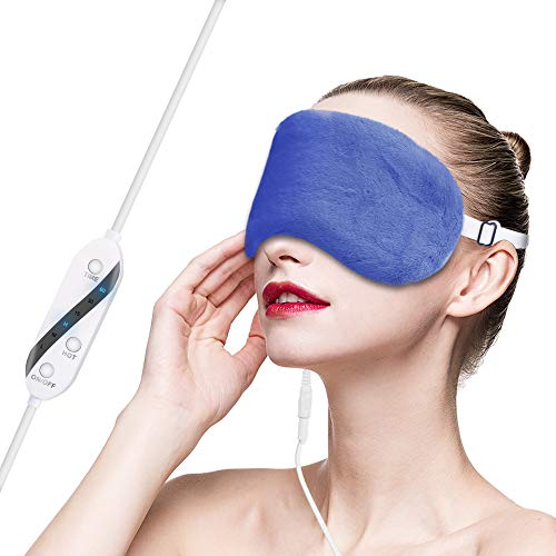 Moist Heated Eye Mask for Dry Eyes with Flaxseed, Lavender, USB Steam Warm Compress Sleep Mask for Puffy Eyes, Adjustable Strap, Adjustable Temperature and Time Control, Relieve Tired Eye (Dark Blue)