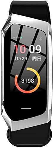 E18 Smart-Armband Herzfrequenz-Test Blut Pressure Test Sport-Armband-Farbbildschirm Übung Spur Schritt Wasserdicht aycpg (Color : Silver)