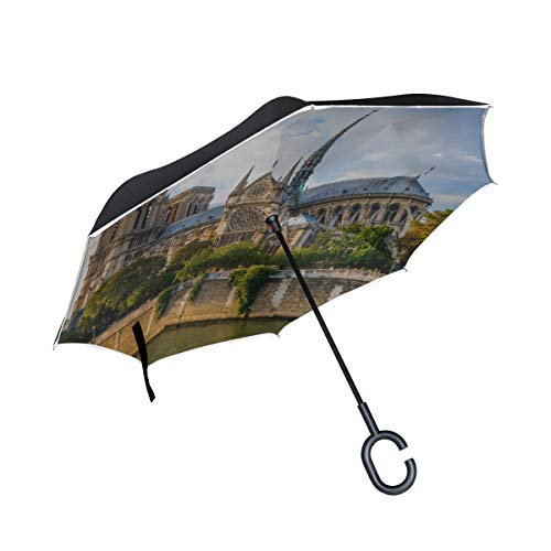 Double Layer Inverted Travel Inverted Umbrella Wunderschöner Notre Dame De Paris Regenschirm Winddicht Reverse Klappstühle Regenschirm Winddicht UV-Schutz für Regen Mit C-förmigem Griff
