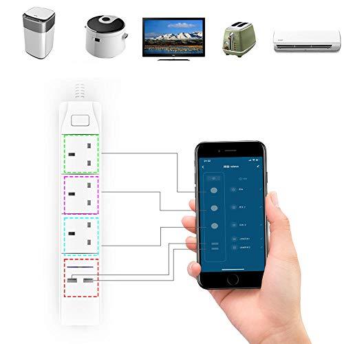 Zay Luay Home Smart. WiFi-APP. Steuerstreifen mit 3 Vereinigtes KÖNIGREICH Outlets-Stecker 2. USB Schnelle Ladungsbuchse-App-Steuerungs-Arbeitsstrom-Steckdose (Color : UK Plug)