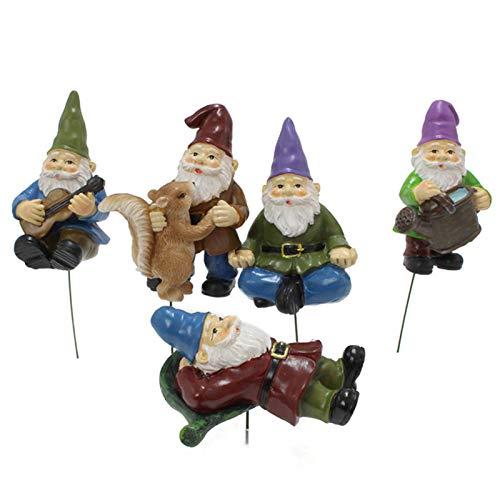 5 PCS Miniature Dwarf Figurines Mini Garden Gnome Figurines Planters Decor Resin Ornaments Bonsai Decoration Sculpture Elves Statue Figurines for Outdoor Garden Yard Lawn Potted Plants Home Decor
