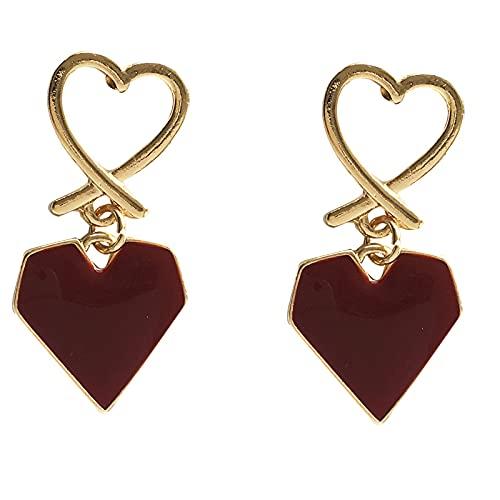Temperament Und Schöne Liebe Ohrringe Retro Wein Rot Pfirsich Herz Ohrringe Einfache Öltropfen Ohrringe Frauen Ein Paar Liebesohrclips